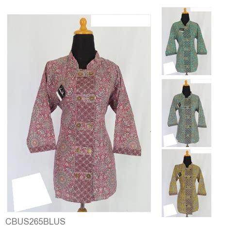 Kemeja Kerah Shanghai B0407 Atasan Wanita Sale Kemeja Kotak Kotak baju batik sarimbit blus motif piring kitir sarimbit blus murah batikunik