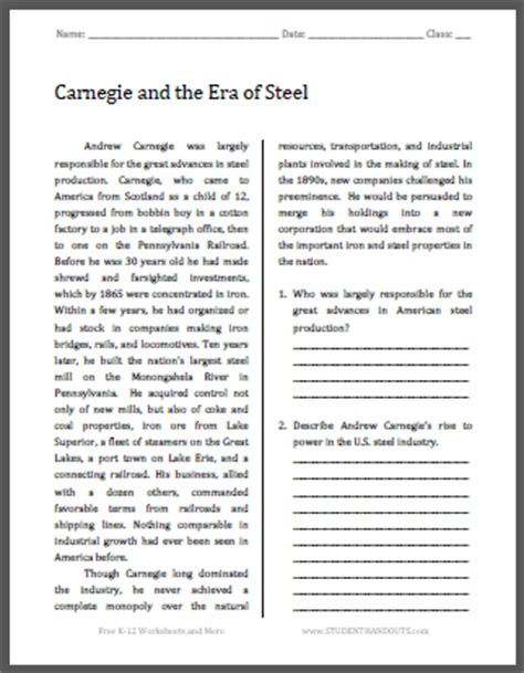 andrew carnegie biography graphic organizer carnegie and the era of steel free printable american