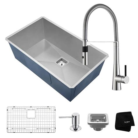 stainless steel sink commercial kitchen shop kraus pax 18 5 in x 31 5 in satin single basin stainless steel undermount commercial