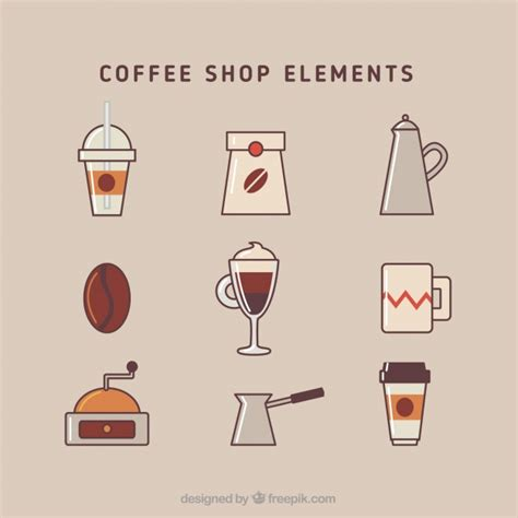 coffee shop design elements coffee shop elements in flat design vector free download