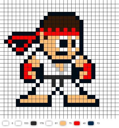 pattern unlock pixel 2 ryu street fighter 2 perler bead pattern pop culture