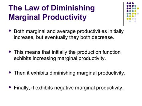 the law of diminishing marginal the production and cost c m a