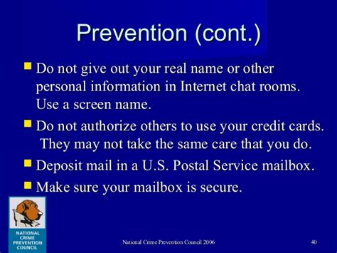 prevention chat room identity theft and strategies for crime prevention