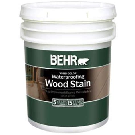 behr 5 gal white solid color waterproofing wood stain 21105 the home depot