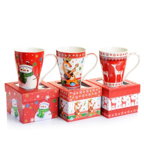 ceramic holiday gifts high quality elk snowman ceramic cup mug gift box mugs cups