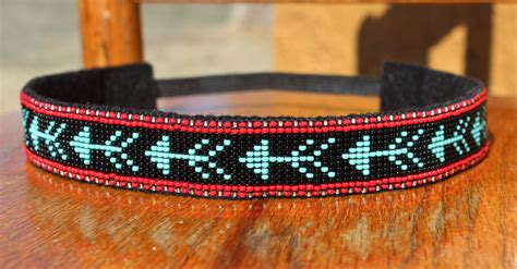 indian beaded headbands turquoise arrow beaded headband in american pattern