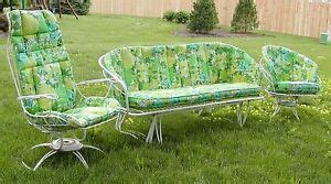 vintage  patio outdoor lawn deck furniture metal iron glider amp chairs    ebay