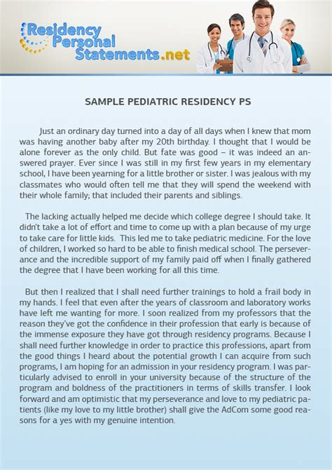 Extenuating Circumstances pediatric residency personal statement sample online is