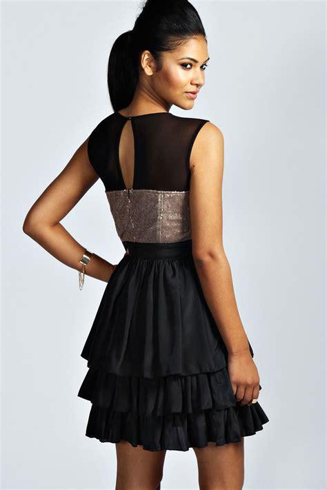 dress rara boohoo womens rosie sleeveless sequin bustier rara