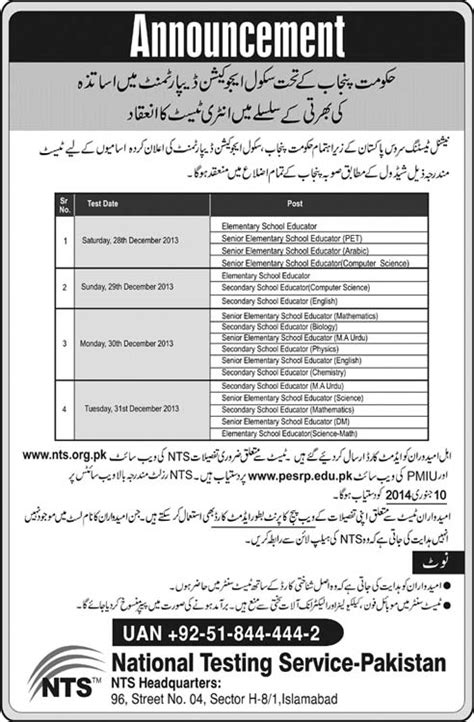 List Of Mba Subjects In Pakistan by Punjab Government Educators Recruitment Entry Test