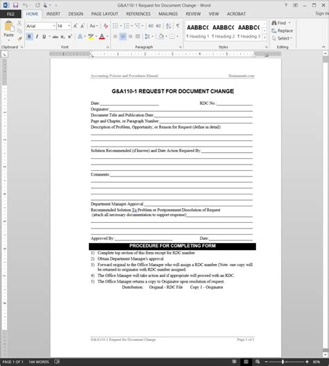 Document Change Request Template Change Request Form Template