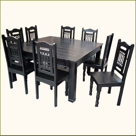 Square Dining Table 8 Chairs Solid Wood Rustic Square Dining Table Chairs Set For 8 Transitional Dining Sets