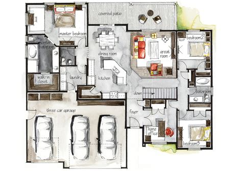 real estate watercolor 3d floor plan i on behance real estate watercolor 2d floor plans part 3 on behance