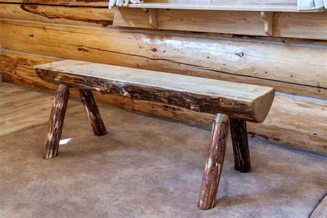 montana glacier country log bench rustic pine bench