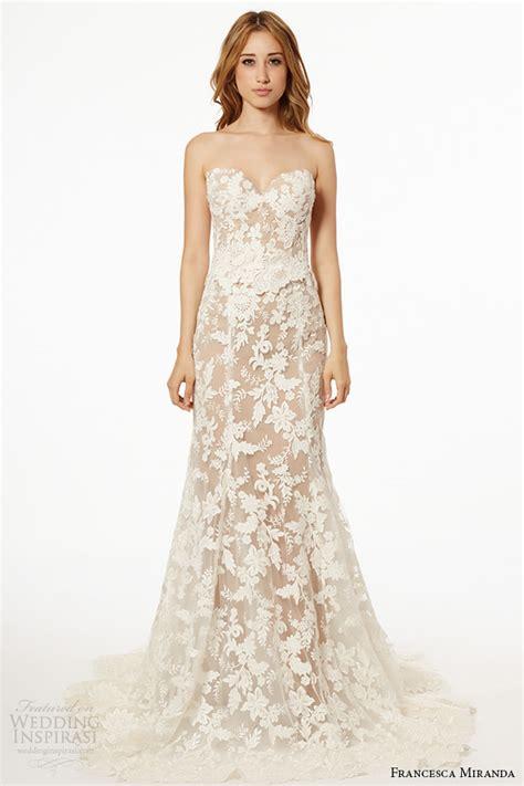 lace sheer wedding gowns miranda wedding dress fall 2015 strapless