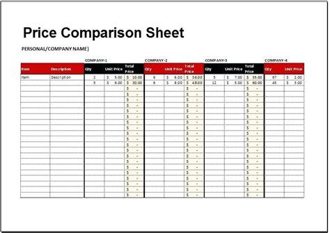 Comparison Excel Template Preview Details Of Template Price Comparison Sheet For Excel Product Product Comparison Template Excel