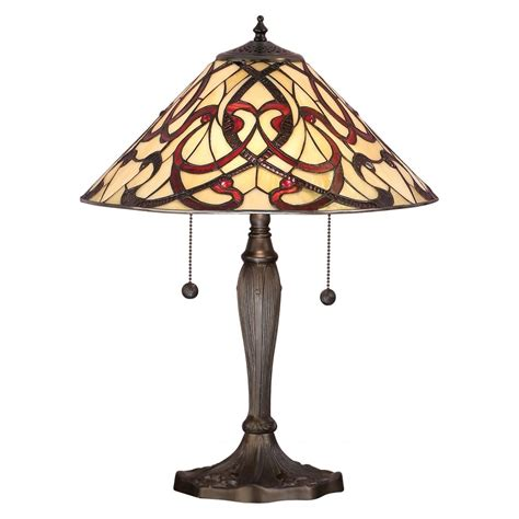 Led Chandelier Light Bulbs Tiffany Art Nouveau Table Top Lamp Stained Glass Shade On