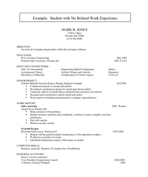 Work Experience Resume Sle Pdf 28 Resume Format For College Students With No Experience Resumes For Students With No