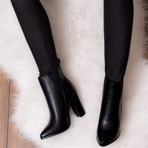 Pointed Block Heel Ankle Boots radiant black ankle boots shoes from spylovebuy