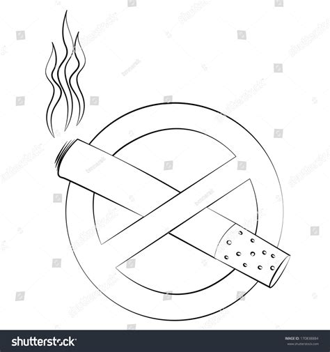 No Outline by Black Outline Vector No Sign Stock Vector 170838884