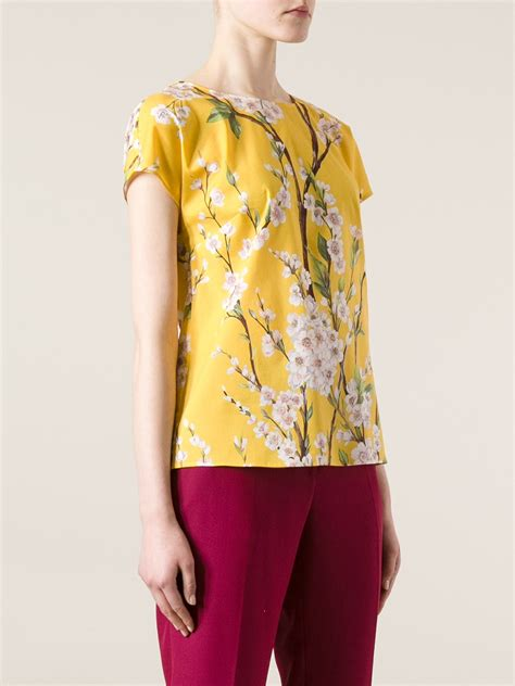14621 2 Blouse Yelow Flower lyst dolce gabbana floral print blouse in yellow