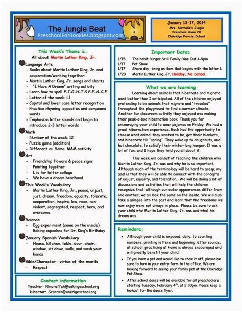 Preschool For Rookies Martin Luther King Jr Preschool Weekly Newsletter Newsletter Montessori Newsletter Templates