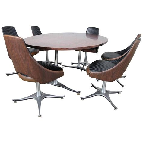 dinette sets with swivel chairs mid century dinette set oval pedestal table with