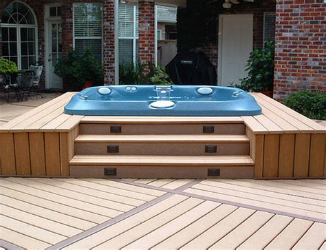 backyard deck designs with hot tub backyard patio ideas with hot tub landscaping