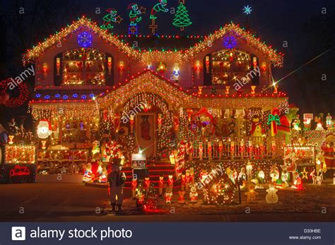 buy a house in queens house in bayside queens new york with very elaborate christmas stock photo royalty