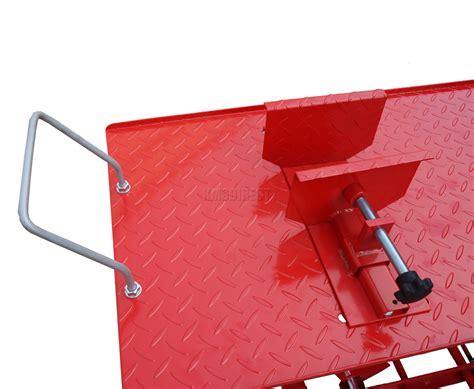 hydraulic motorcycle bench 1000lb hydraulic bike motorcycle motorbike workshop lift bench workbench xl red ebay