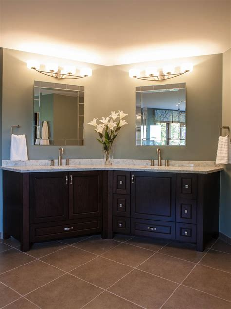 angled double vanity adds dimension to contemporary