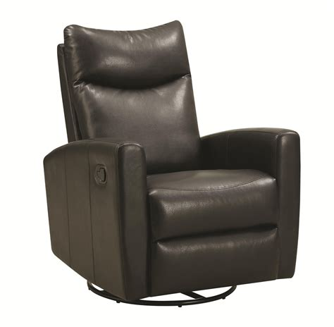 Leather Swivel Recliners by Coaster 600034 Black Leather Swivel Recliner A