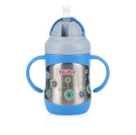 Sale Nuby Click It Insulated Stainless Steel Straw Bottle 280ml nuby clik it flip it stainless steel insulated cup with 360 176 straw