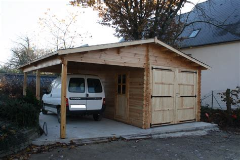 wooden garage with carport 6x6m 44mm walls cozy cabins