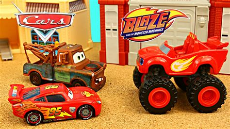 disney monster truck videos blaze and the monster machines wrestling disney cars