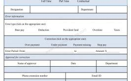 Payroll Correction Form Template appraisal form form sle sle forms