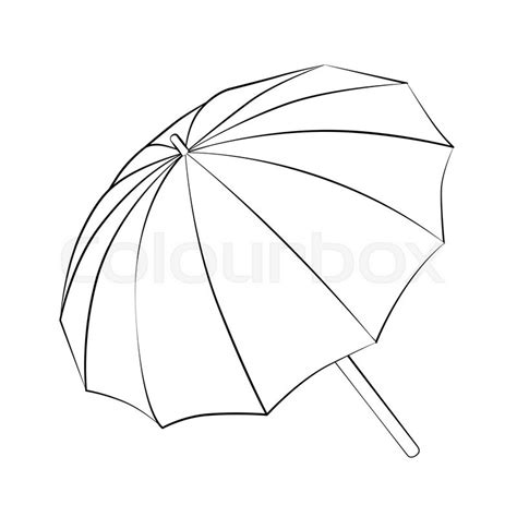 umbrella layout vector black outline vector umbrella on white background stock