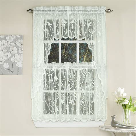 Knit Lace Bird Motif Kitchen Window Curtain Tiers Swags Kitchen Curtain Tiers
