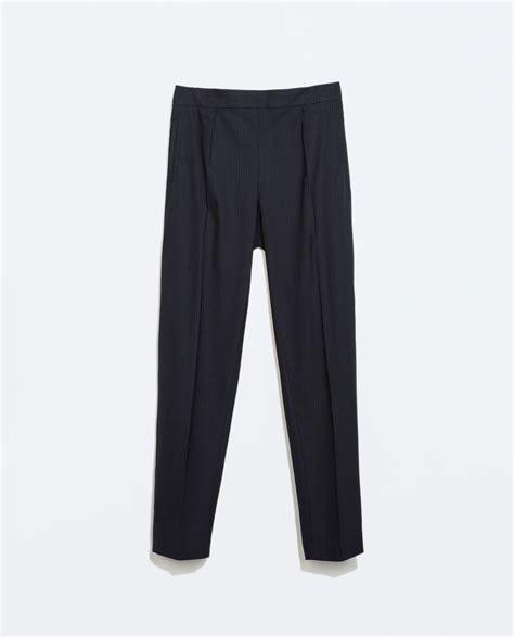 zara trousers with elastic waistband zara pinstriped trousers with elastic waist in blue navy blue lyst