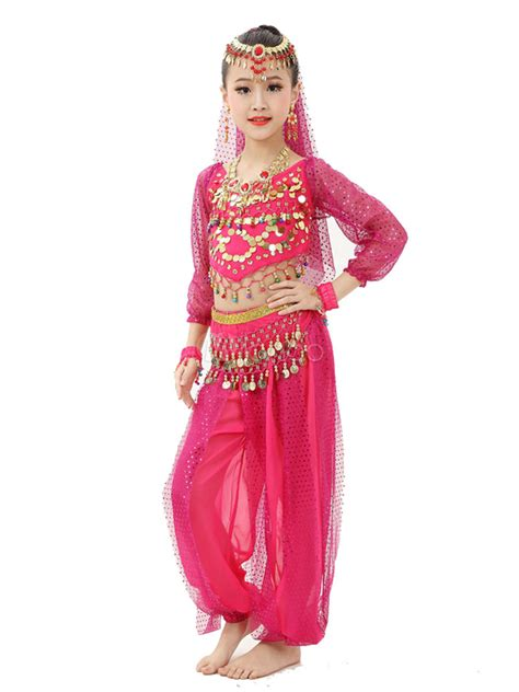 bollywood dancer costume belly dance costume kids red chiffon long sleeve indian