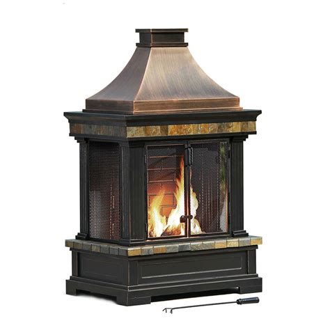 Outdoor Fireplaces Home Depot by Sunjoy Amherst Wood Charcoal Outdoor Fireplace The Home