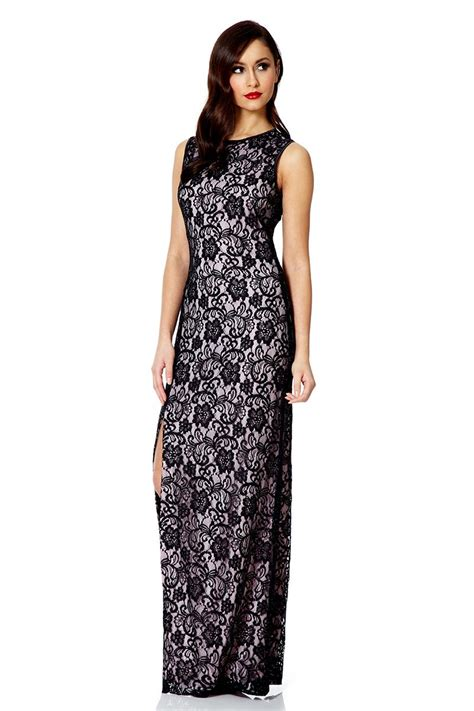Dress Lace Pink Black lyst quiz black and pink lace split maxi dress in pink