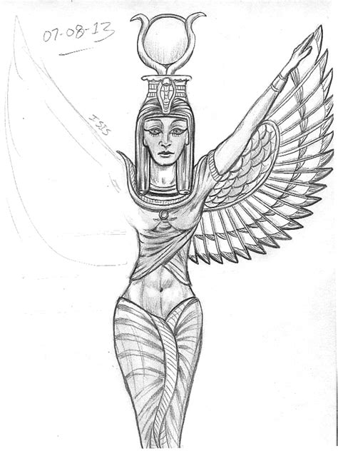 isis goddess tattoo sketch a day august 2013