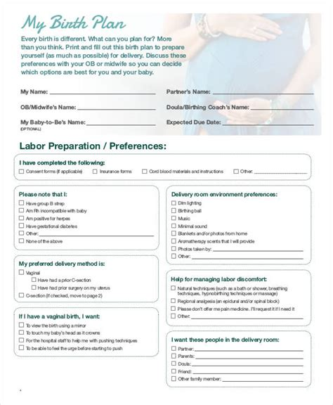 simple birth plan template birth plan template 15 free word pdf documents