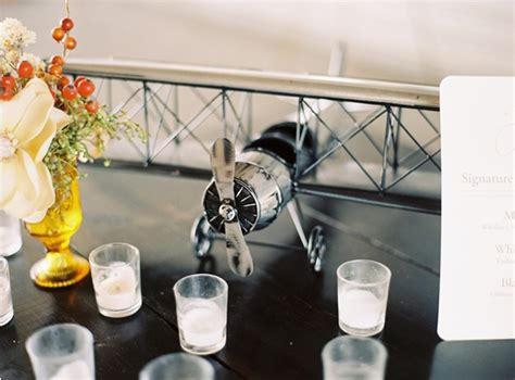 Airplane Decorations by Airplane Hangar Wedding Once Wed
