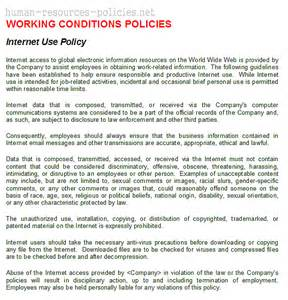 company computer use policy template sle human resources policies sle procedures for