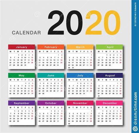 colorful calendar year  vector design template simple  clean design stock vector