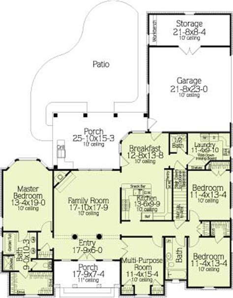 Gracewood 6528 4 Bedrooms And 2 Baths The House Designers House Plans With Eat In Kitchen