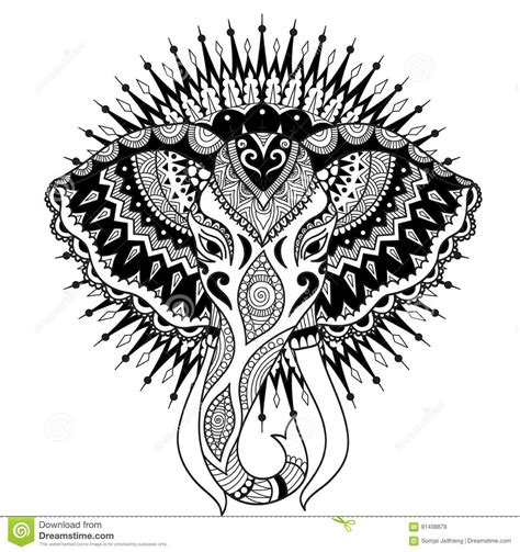 beautiful abstract elephant head on mandala circle design