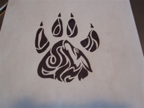 paw print tribal tattoo design paw